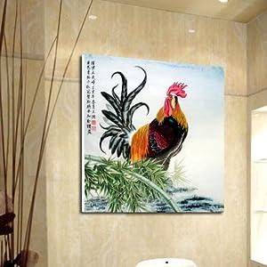 美时美刻 国画公鸡 动物装饰画玄关无框画客厅壁画餐厅挂画版画单幅