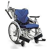 日本河村舒适行航太铝合金轮椅 KZM 折叠靠背折叠脚 (坐宽42, 兰色 网格)-图片