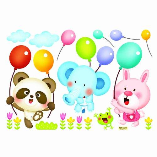 韩国原装墙贴画 儿童房贴纸 装饰墙贴 可移除窗贴 夜光贴 小动物 气球图片
