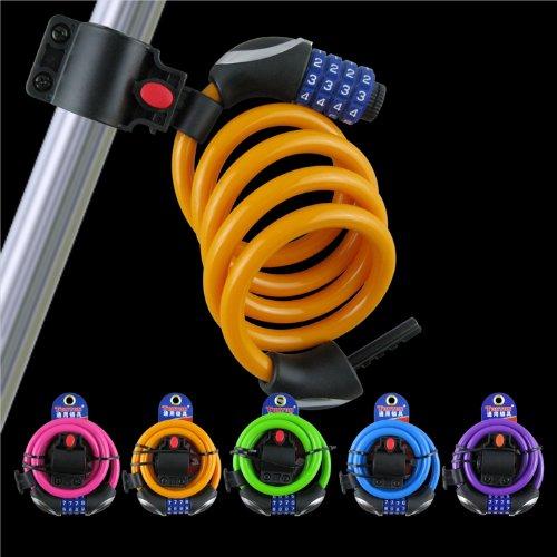 XLHBIKE TY563自行车四位密码锁/自行车锁/车锁钢丝锁带架子 (黄色)-图片