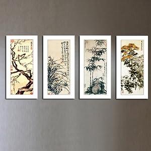 美时美刻 梅兰竹菊 古典花卉装饰画中式客厅无框中堂茶楼壁画四联图片