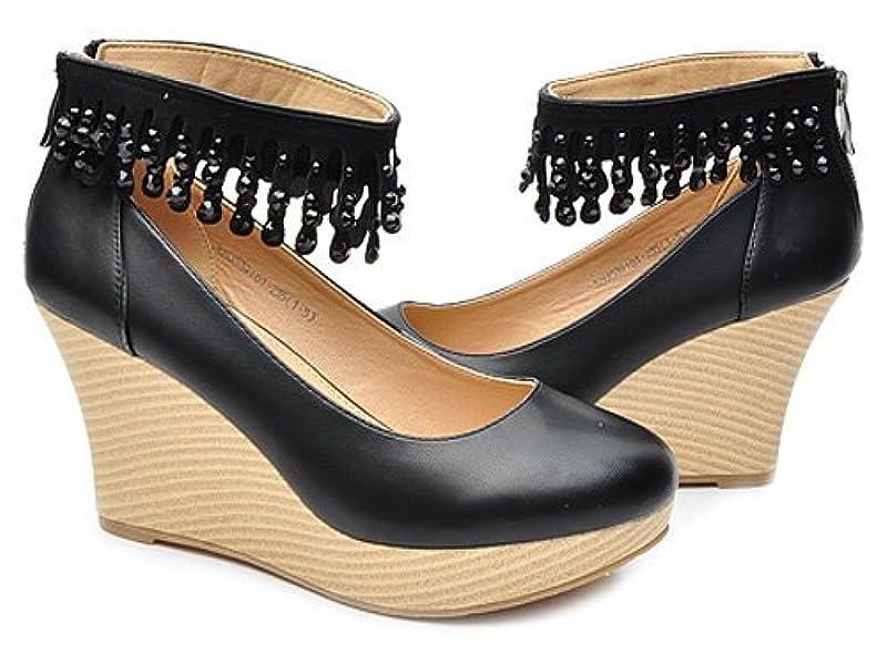 水晶坠链踝带木履厚底坡跟鞋 女 单鞋 32aa5391黑色 black 36