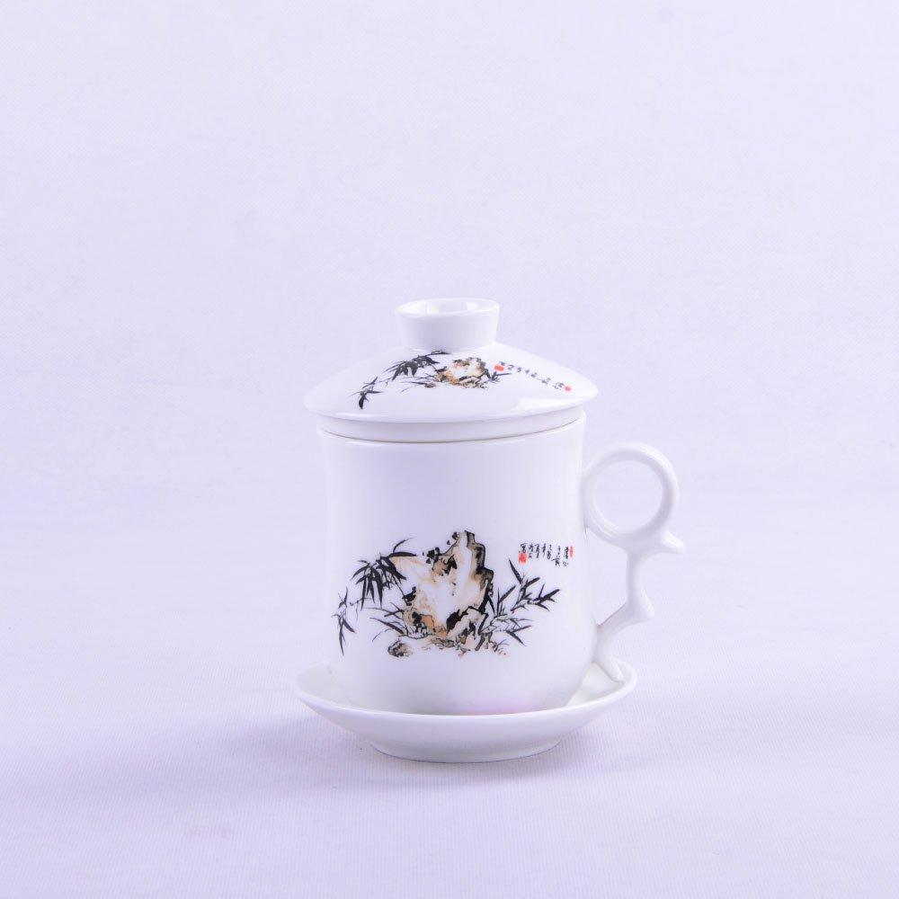 彭城手绘墨竹瓷茶杯