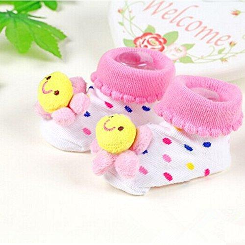 金童冕 新生儿立体袜 婴儿卡通造型袜子 可爱宝宝袜 鞋型袜 (粉色太阳
