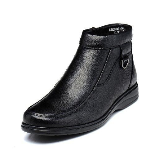Fuguiniao 富贵鸟 冬季头层牛皮高帮男鞋商务正装加毛保暖男士高帮棉鞋皮靴