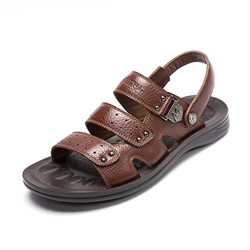 MULINSEN 木林森 凉鞋男潮 夏季英伦休闲鞋子 透气真皮凉拖鞋两用防滑沙滩鞋