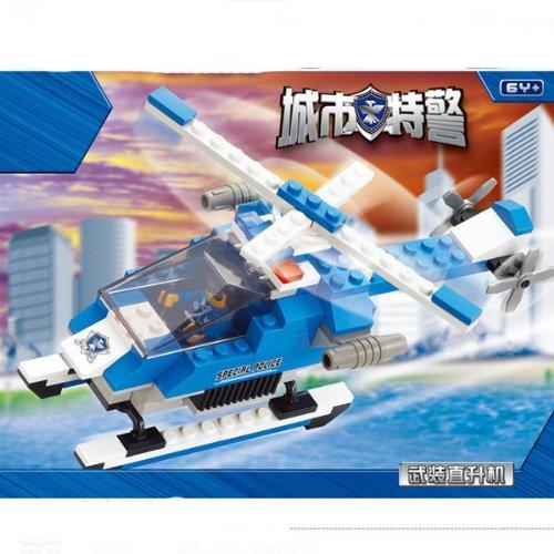 小鲁班益智拼插乐高式积木 飞机拼装儿童玩具 城市特警直升机0185图片