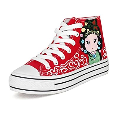 卜丁 红色高帮系带帆布鞋中国风戏剧图案手绘鞋秋女鞋图片