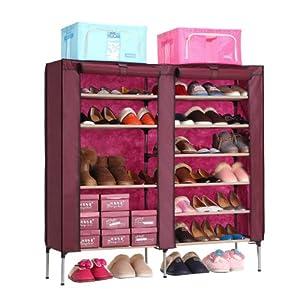 简易鞋柜防尘鞋柜鞋架简易组合鞋柜防水鞋柜无纺布鞋柜鞋架包邮 双排10格酒红