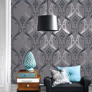 欧式沙发电视背景墙大马士革无纺布硅藻泥除甲醛墙纸