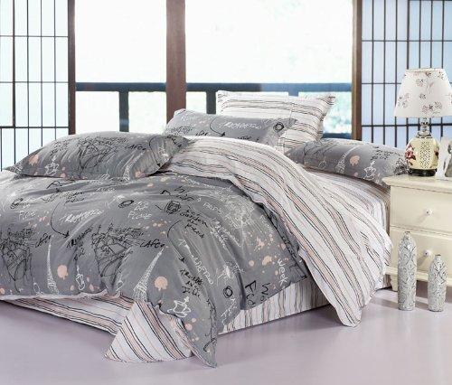 (家纺节,优惠闪购)VooChoo 卧趣 全棉斜纹被套床单双人四件套 超耐磨环保染色 AB版加柔 适合1.5/1.8米床 布拉格广场 灰-图片