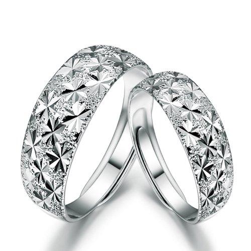 玲饰界 正品 满天星 925纯银戒指 情侣 对戒 一对装 开口形-图片