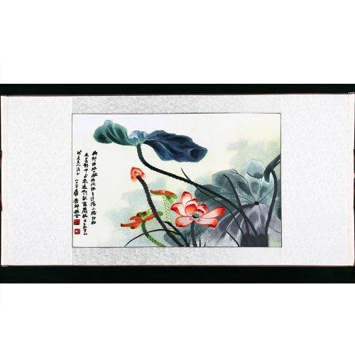 湘绣荷花 纯手工 刺绣 单面绣 民族风 湘绣装饰画 精美挂件 卷轴软裱