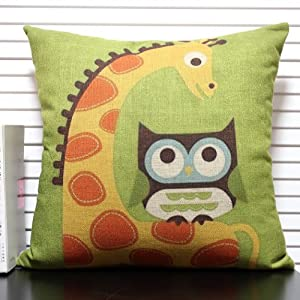 一橙 拼布田园风创意猫头鹰卡通抱枕 办公室靠垫腰靠靠枕 棉麻文艺
