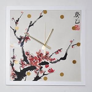 y绮影手绘挂钟,木质画框水墨手绘.