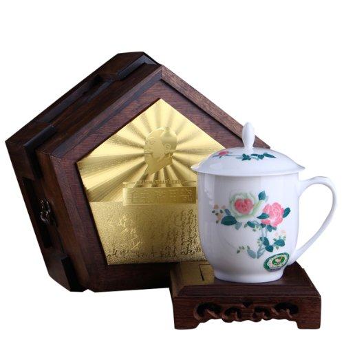 Snowwolf/雪狼 毛瓷 7501 经典釉下彩瓷器办公茶杯 团购定制 CZY Y (月季木)-图片