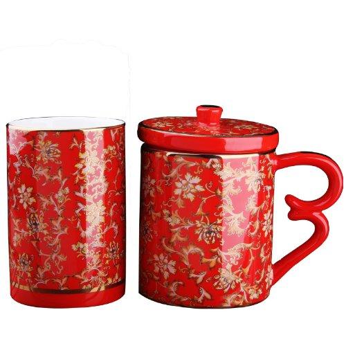 Snowwolf 雪狼 中国红瓷 常年富贵 笔筒办公两件套 节日创意礼物 喜庆礼品 jc-图片