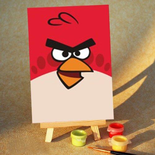 佳彩天颜 数字油画diy 卡通儿童手绘画孩子的礼物 愤怒的小鸟送小画