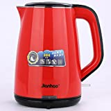 JIANHAO 坚好 FL-1500A 快速电热水壶  电热水壶   最大容量2L电水壶 进口304不锈钢 防干烧,防溢出,自动断电,三重安全保护水壶 (红色)-图片
