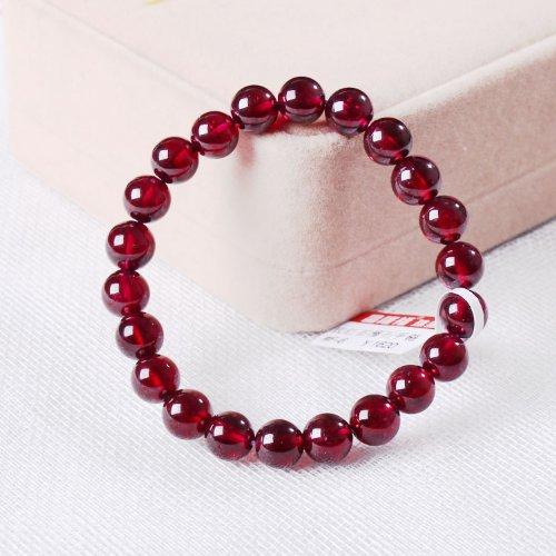 晶隆福 天然玫红石榴石手链 美容养颜 颜色亮丽 晶体通透 女性必备 增添魅力-图片