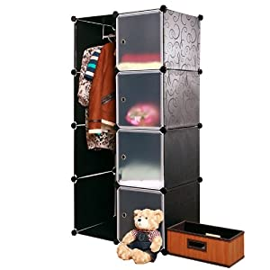 南辰 4层2列衣柜 成人衣橱 收纳柜 儿童衣柜 (黑花白门)