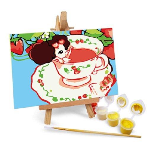 自油自画 数字油画diy手绘 动漫卡通迷你油画 送木架多款选 咖啡女孩