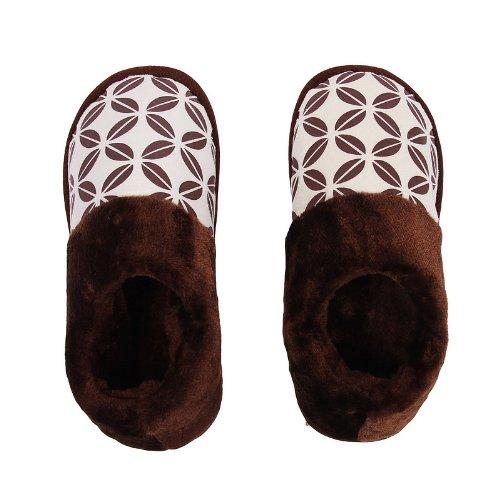 蓝万 秋冬季几何图案包脚厚底棉拖鞋