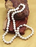 东方茗雅 天然珍珠配925纯银扣项链、手链套装(白色、9-10mm)【美容养颜、抗衰老、延年益寿】-图片