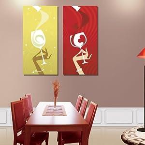 创美馨 美女抽象酒杯餐具 墙壁画 餐厅厨房装饰画 酒店酒吧 现代 简约