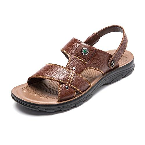 MULINSEN 木林森 男凉鞋真皮透气沙滩鞋休闲男鞋 新款沙滩鞋头层牛皮凉鞋夏