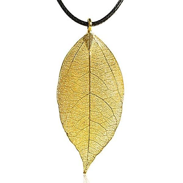 金叶子吊坠天然树叶 毛衣链 项链 附权威证书