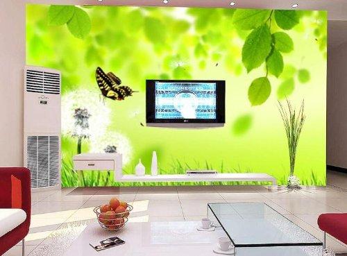 风景蒲公英墙纸 大型壁画 绿背景 客厅沙发电视背景墙壁画 韩国lg浮雕