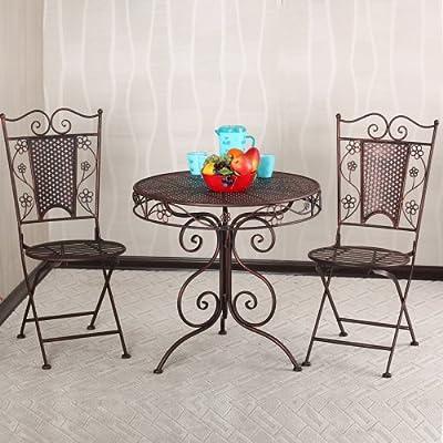 果漫欧式田园铁艺户外庭院阳台休闲桌椅套装(一圆桌两