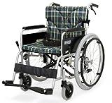 日本河村 BM系列航太合金7003高度可调节轮椅 (后轮22英寸 座宽45 座高43, 方格绿)-图片