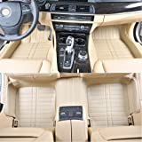 JuSaYo 车尚由 进口超纤皮革5层加厚高品质汽车脚垫(全包围脚垫 温莎米色)-吉普指南者(上市年份2011~2013)专用 原车模板 高端定制-图片
