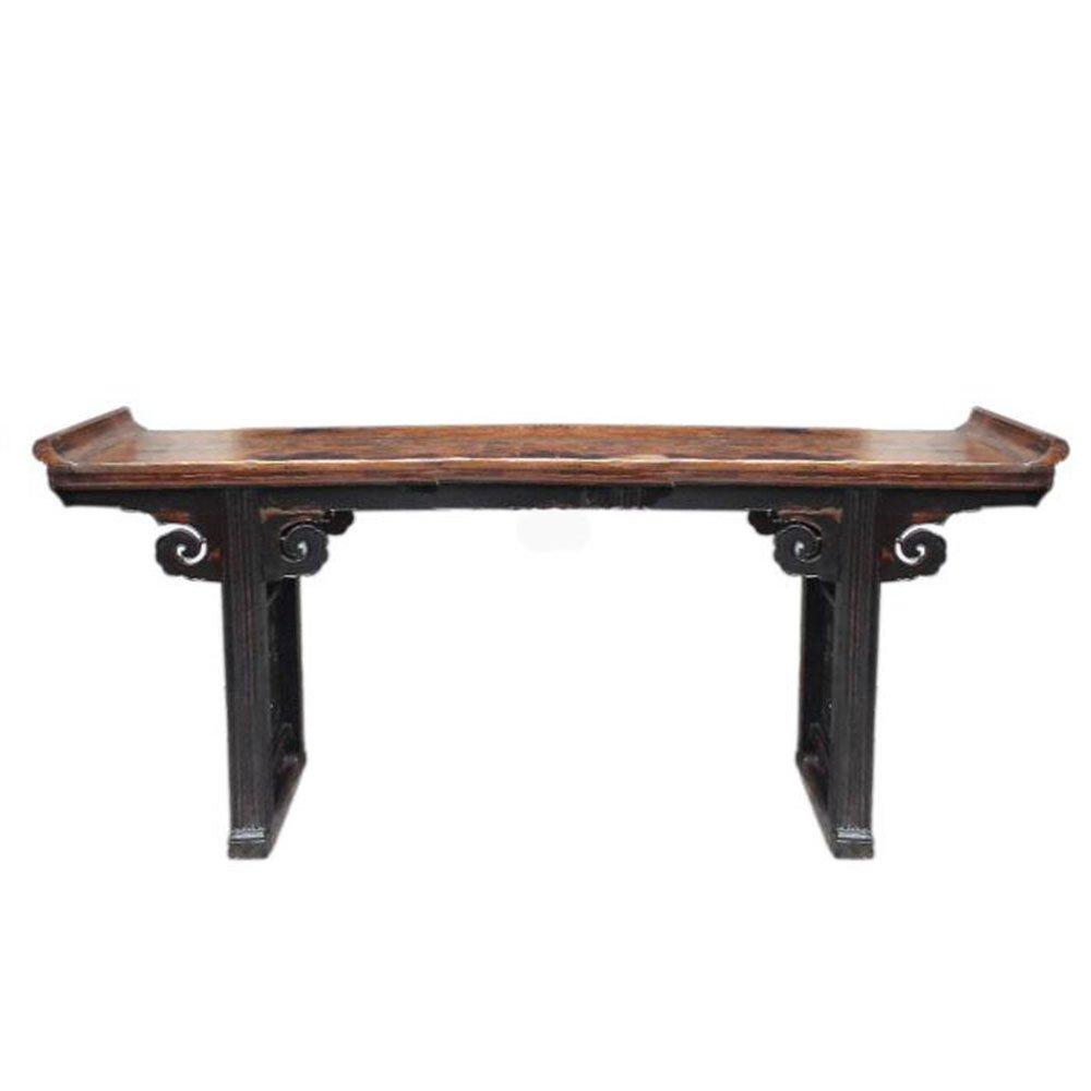 百林坛 明清实木仿古做旧翘头条案书桌供桌 中式手工雕刻榆木佛台几