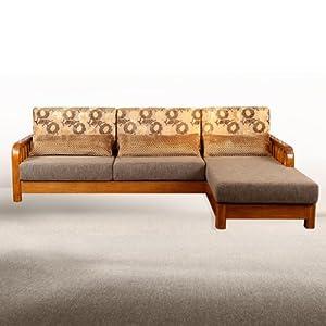 胡桃木实木布艺转角沙发l形木质沙发客厅组合yo-f387 右三人位 左贵妃