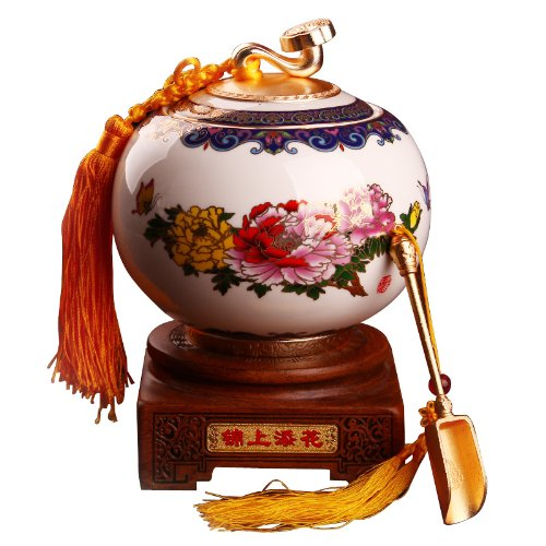Snowwolf 雪狼 锦上添花 景泰蓝陶瓷茶叶罐 陶瓷密封茶罐陶罐 送茶勺底座 TH-图片