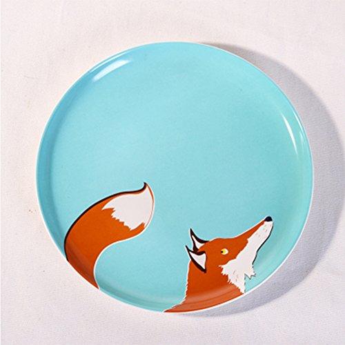 恒庭 盘 创意陶瓷盘子 西餐盘 8寸卡通可爱动物盘 (狐狸)