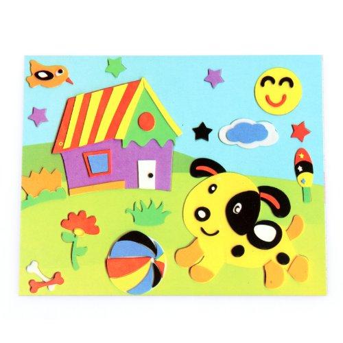 手工画 立体粘贴画 3d儿童早教益智玩具 卡通贴画拼图 小猫与房子