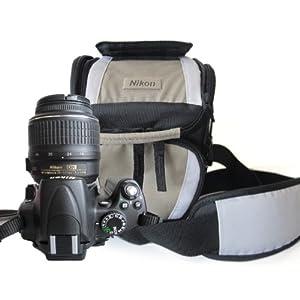 Nikon 尼康 原装三角包 D7000 D3000 D3100 D90 D5000 D5100 d80 d60 d40 d3200相机包尼康 三角便携单反摄影包 轻便 休闲单反包 (黑灰款)
