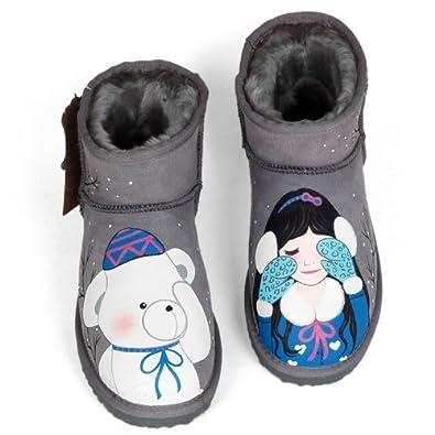 卜丁 甜美短筒手绘雪地靴女孩小熊图案个性涂鸦女鞋加厚保暖牛皮牛筋