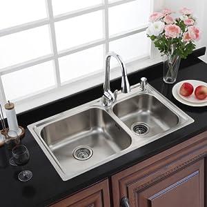 MOEN摩恩进口304不锈钢加厚双槽水槽23302+MCL7594C套装¥1499-60=¥1439