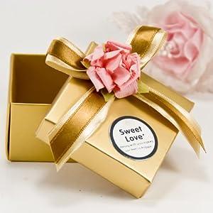 个性创意喜庆欧式中式婚庆结婚hdlxtfh-005 金色盒 金色缎带粉色配花