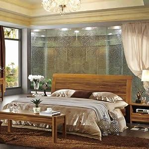 中式简约原木色卧室实木简洁大床(1.5米)