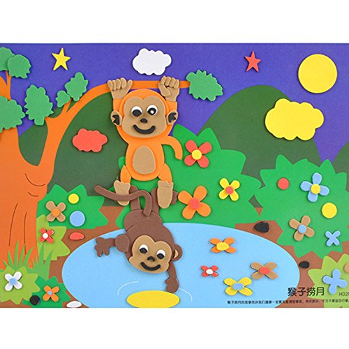 孩派eva贴画儿童手工制作 益智玩具diy幼儿园手工 寓言故事贴纸 (猴子