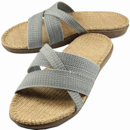 硕牌精拖 新款男士 居家拖鞋 交叉带亚麻拖鞋 防滑耐磨 吸汗透气 夏季凉拖鞋 (棕色265(42-43), 健康环保 吸汗透气)