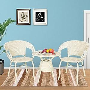 藤椅子茶几三件套装桌子简约高档阳台休闲办公户外家具b79(白色款式