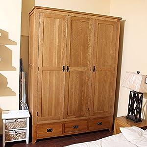 衣柜实木橡木大衣柜木纹收纳三门衣柜美式实木家具衣柜(英伦金木色三