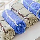 GRACE洁丽雅 团购礼品 企业福利 纯棉经典款格纹毛巾套装(2条装)72*34cm 蓝+灰 AE0032-图片